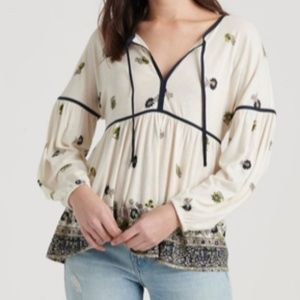 Lucky Brand Border Print Peasant Top